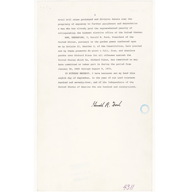 Richard Nixon's Resignation Letter and Gerald Ford's Pardon