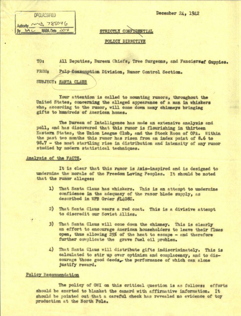 "World War II Holiday Humor: Office of War Information ""Santa"" Memo"